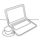 laptop coffee linedrawing